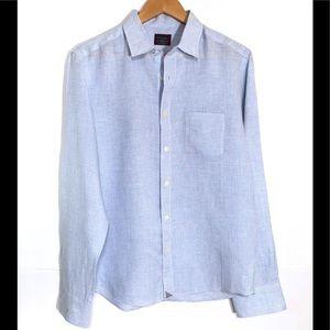 UNTUCKIT Mens Medium Slim Fit 100% Linen Blue Pink
